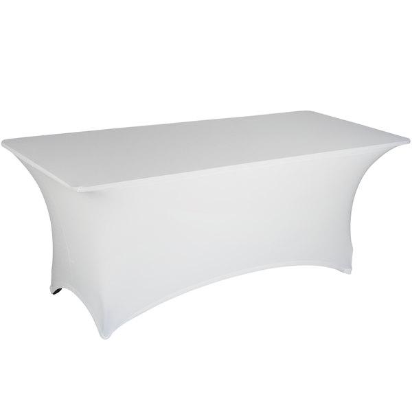 "Marko EMB5026AC618010 Embrace 72"" x 18"" Arch / Serpentine Cut White Spandex Table Cover"