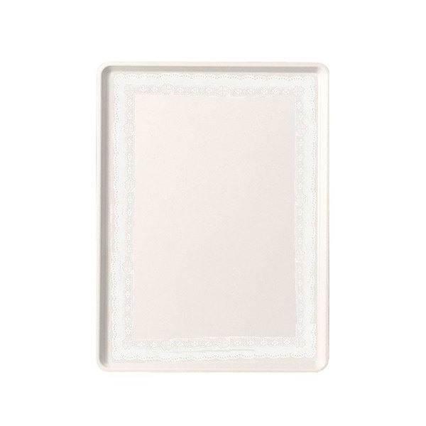 """Cambro 1520D246 15"""" x 20"""" Doily Lite Peach Patterned Dietary Tray - 12/Case"""