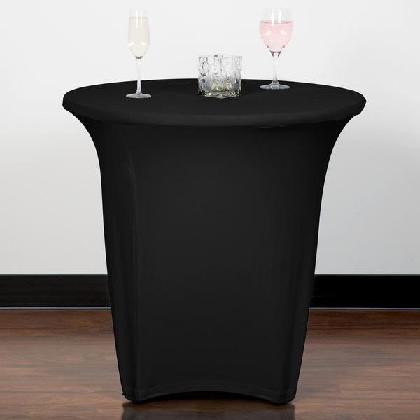 "Snap Drape CN420R3030014 Contour Cover 30"" Round Black Spandex Table Cover Main Image 8"