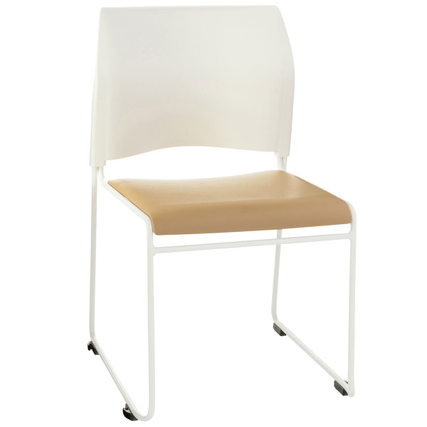 National Public Seating 8721-01-21 Beige and White Stackable Cafetorium Chair with White Frame