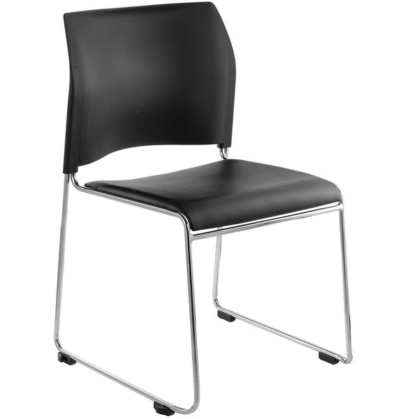 National Public Seating 8704-11-10 Black Stackable Cafetorium Chair with Chrome Frame