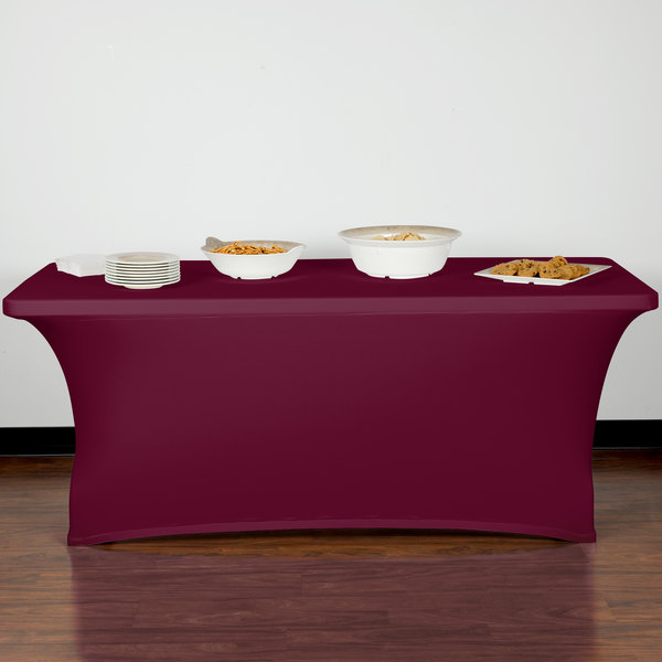"Snap Drape CN420CV30630046 Contour Cover 72"" x 30"" Burgundy Spandex Table Cover Main Image 7"