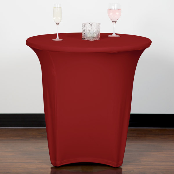 "Marko EMB5026R24046 Embrace 24"" Round Burgundy Spandex Table Cover"