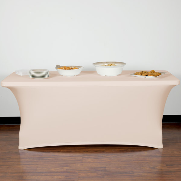 "Snap Drape CN420CV30630770 Contour Cover 72"" x 30"" Cream Spandex Table Cover Main Image 7"