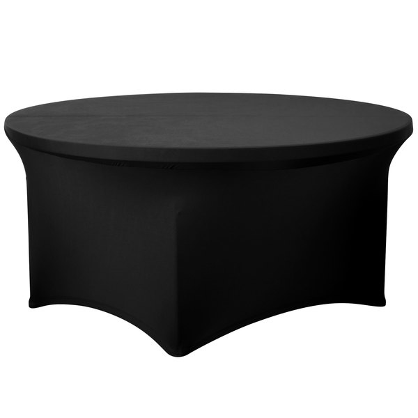 "Marko EMB5026R54014 Embrace 54"" Round Black Spandex Table Cover"