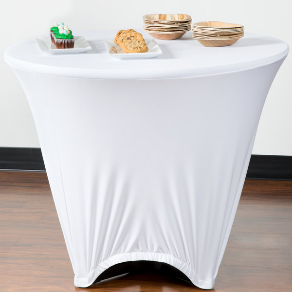 """Marko EMB5026R36010 Embrace 36"""" Round White Spandex Table Cover"""