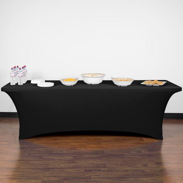 """Snap Drape CC830-BLACK Contour Cover 96"""" x 30"""" Black Spandex Table Cover"""