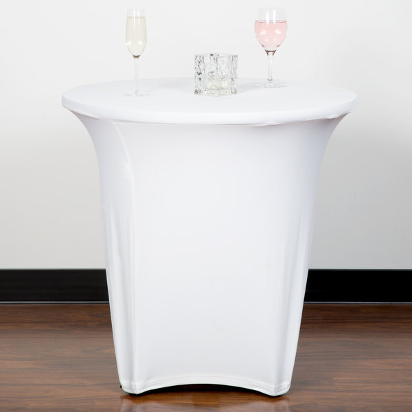 """Marko EMB5026R30010 Embrace 30"""" Round White Spandex Table Cover"""