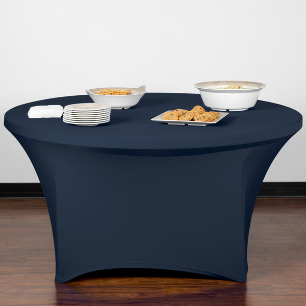 "Snap Drape CC60R-NAVY Contour Cover 60"" Round Navy Spandex Table Cover"