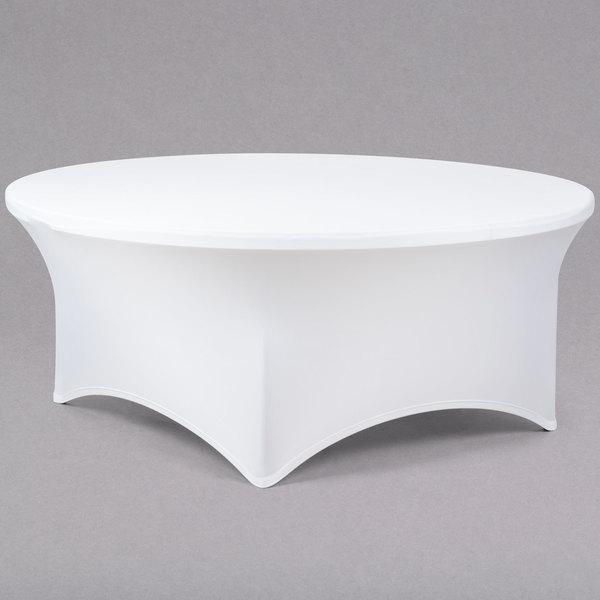 "Snap Drape CC72R-WHITE Contour Cover 72"" Round White Spandex Table Cover"