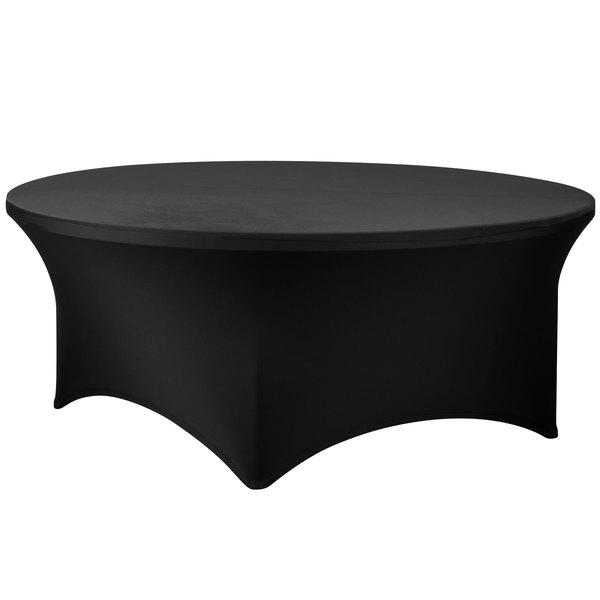 "Snap Drape CC72R-BLACK Contour Cover 72"" Round Black Spandex Table Cover"