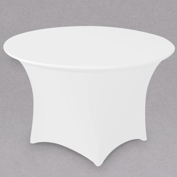 "Snap Drape CC66R-WHITE Contour Cover 66"" Round White Spandex Table Cover"