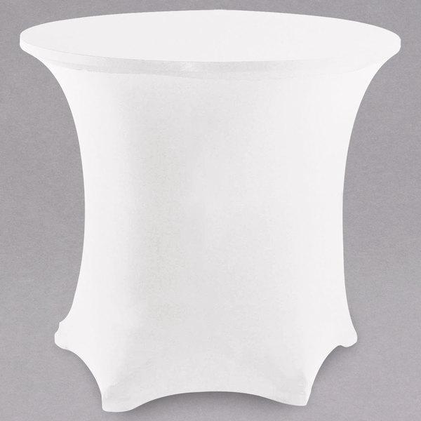 "Snap Drape CC48R-WHITE Contour Cover 48"" Round White Spandex Table Cover"