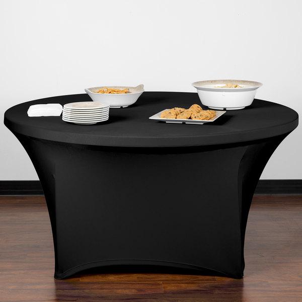 "Snap Drape CC60R-BLACK Contour Cover 60"" Round Black Spandex Table Cover"