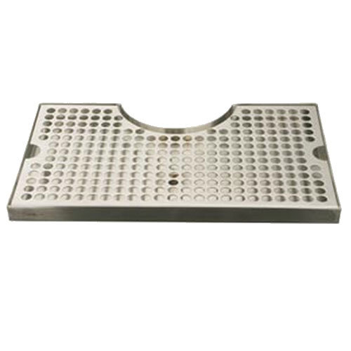 "Micro Matic DP-920 7"" x 12"" Stainless Steel Surface Mount Drip Tray with 3"" Column Cutout"