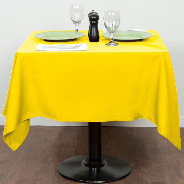 """54"""" x 54"""" Square Yellow 100% Polyester Hemmed Cloth Table Cover"""