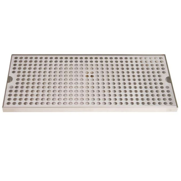 "Micro Matic DP-820D-18 8"" x 18"" Stainless Steel Surface Mount Drip Tray with Drain"