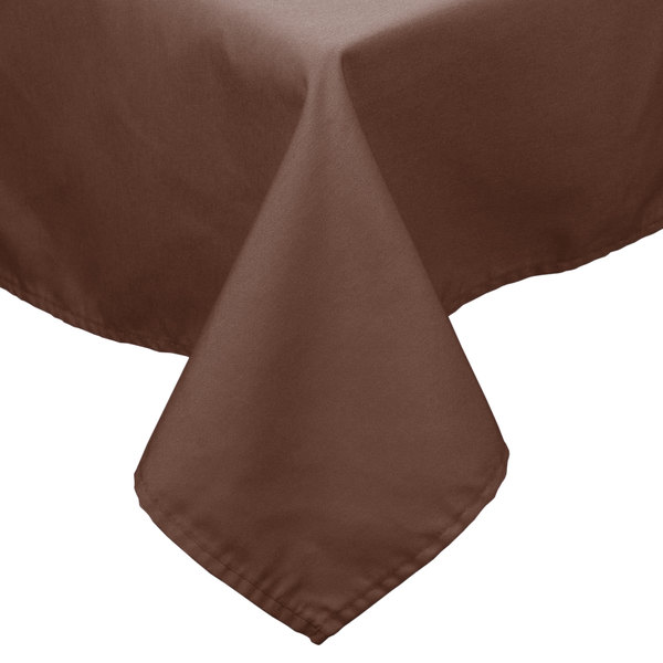 """54"""" x 72"""" Brown 100% Polyester Hemmed Cloth Table Cover"""