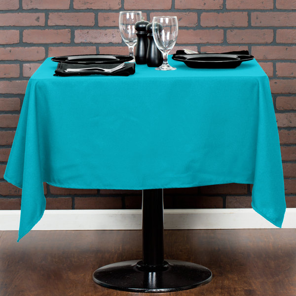"""54"""" x 54"""" Teal 100% Polyester Hemmed Cloth Table Cover"""