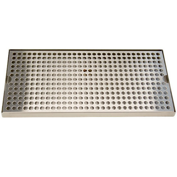 "Micro Matic DP-820D-16 8"" x 16"" Stainless Steel Surface Mount Drip Tray with Drain Main Image 1"
