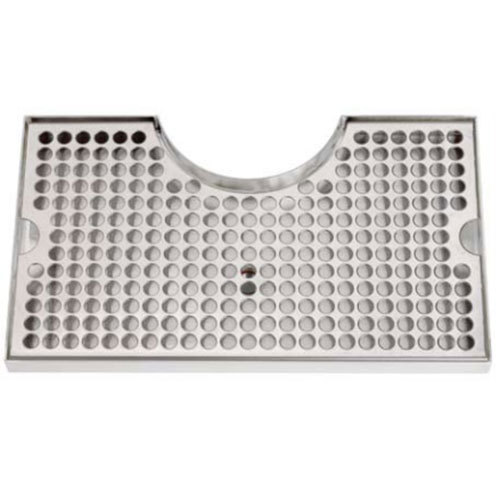 """Micro Matic DP-920D 7"""" x 12"""" Stainless Steel Surface Mount Drip Tray with 3"""" Column Cutout and Drain Main Image 1"""