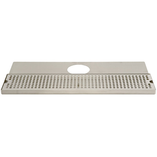"Micro Matic DP-620D-24 11 3/4"" x 24"" Stainless Steel Surface Mount Drip Tray with Tower Mounting Plate and Drain Main Image 1"