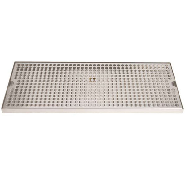 """Micro Matic DP-820D-20 8"""" x 20"""" Stainless Steel Surface Mount Drip Tray with Drain"""