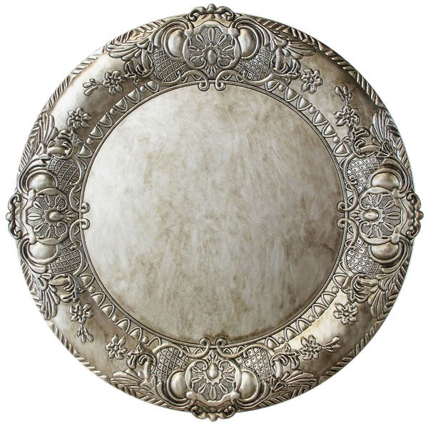 """The Jay Companies 1320424 14"""" Round Silver Embossed Plastic Charger Plate"""