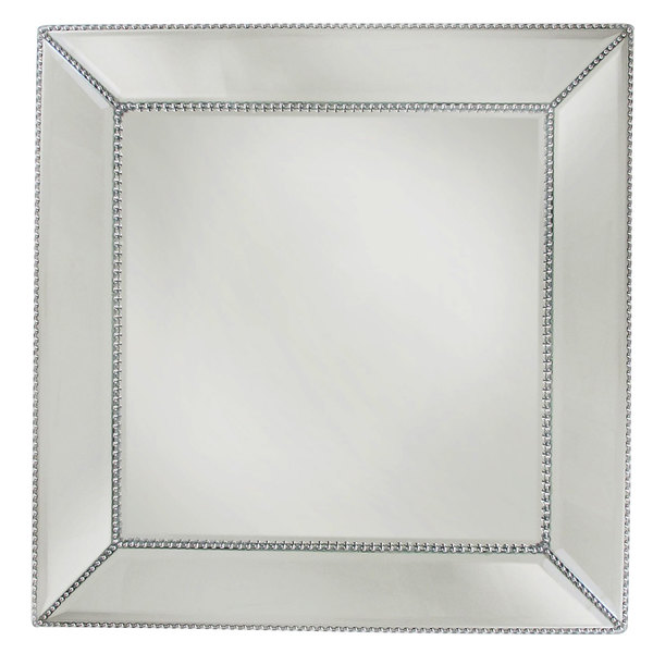 "The Jay Companies 1331678 13"" Square Beaded Glass Mirror Charger Plate"
