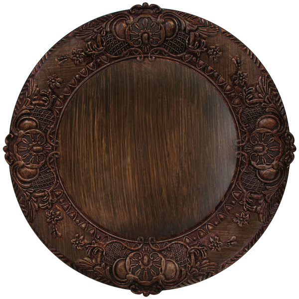 """The Jay Companies 1320429 14"""" Round Brown Embossed Plastic Charger Plate"""