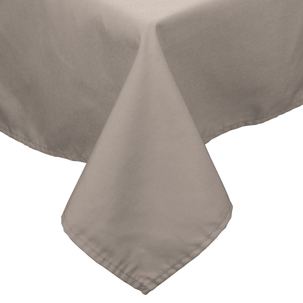 """54"""" x 81"""" Beige 100% Polyester Hemmed Cloth Table Cover"""