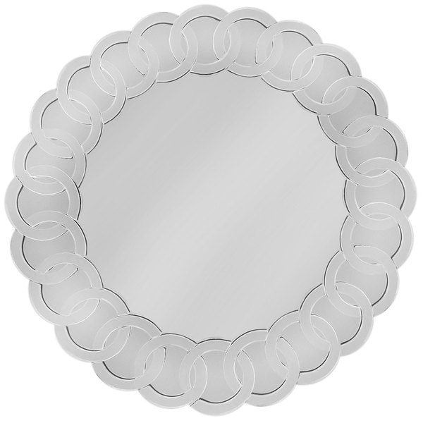 "The Jay Companies 1331676 14"" Round Scroll Glass Mirror Charger Plate"