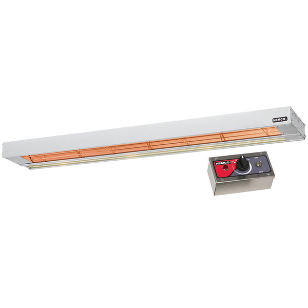 "Nemco 6155-48-SL 48"" Single Infrared Strip Warmer with 69008 Remote Control Box and Lights - 120V, 1220W"