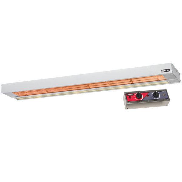 "Nemco 6155-48-DL 48"" Dual Infrared Strip Warmer with 69008-2 Remote Control Box and Lights - 240V, 2320W"