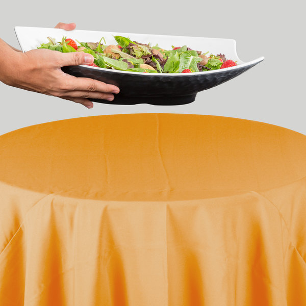 "64"" Round Gold 100% Polyester Hemmed Cloth Table Cover"