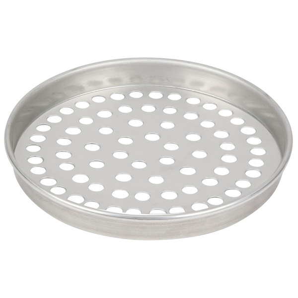 """American Metalcraft SPT4006 6"""" x 1"""" Super Perforated Tin-Plated Steel Straight Sided Pizza Pan"""