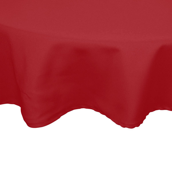 """54"""" Round Red 100% Polyester Hemmed Cloth Table Cover"""