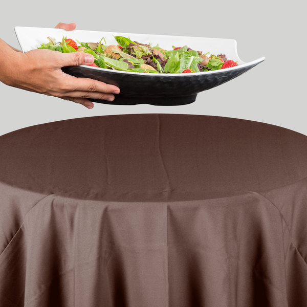 "64"" Round Brown 100% Polyester Hemmed Cloth Table Cover"