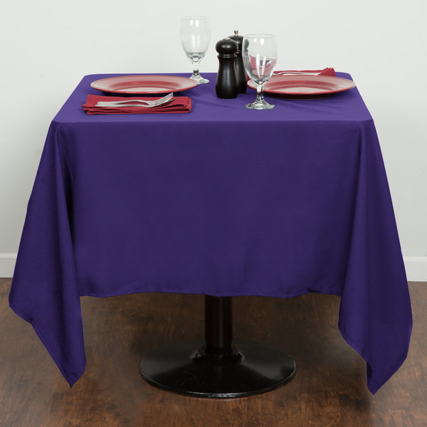 "64"" x 64"" Purple 100% Polyester Hemmed Cloth Table Cover"