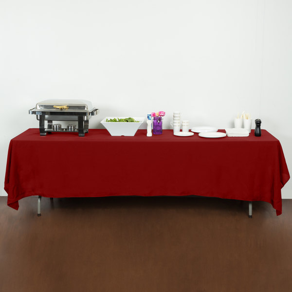 """72"""" x 120"""" Red 100% Polyester Hemmed Cloth Table Cover"""