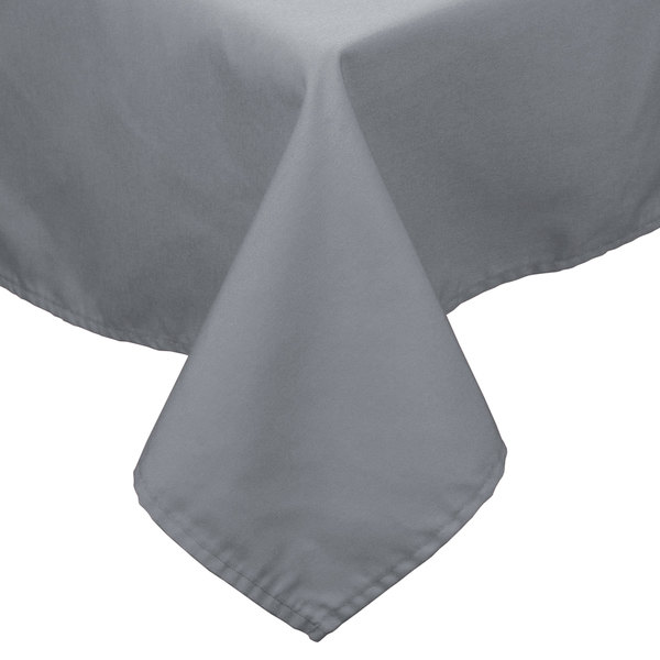 """64"""" x 110"""" Gray 100% Polyester Hemmed Cloth Table Cover"""