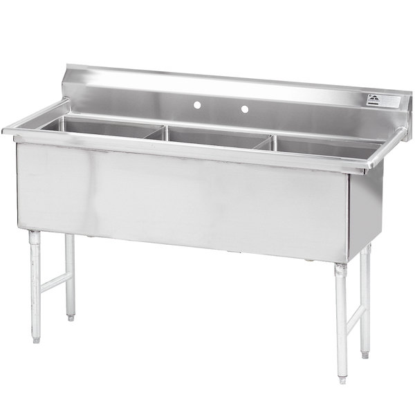 """Advance Tabco FS-3-1824 Spec Line Fabricated Three Compartment Pot Sink - 59"""""""