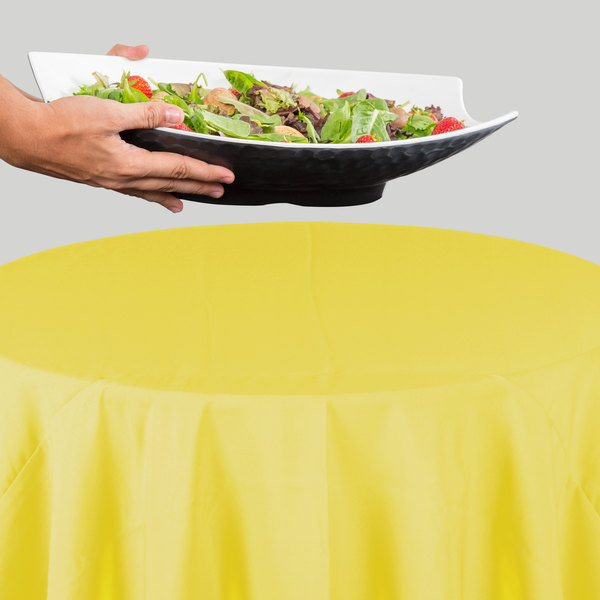 """120"""" Round Yellow 100% Polyester Hemmed Cloth Table Cover"""