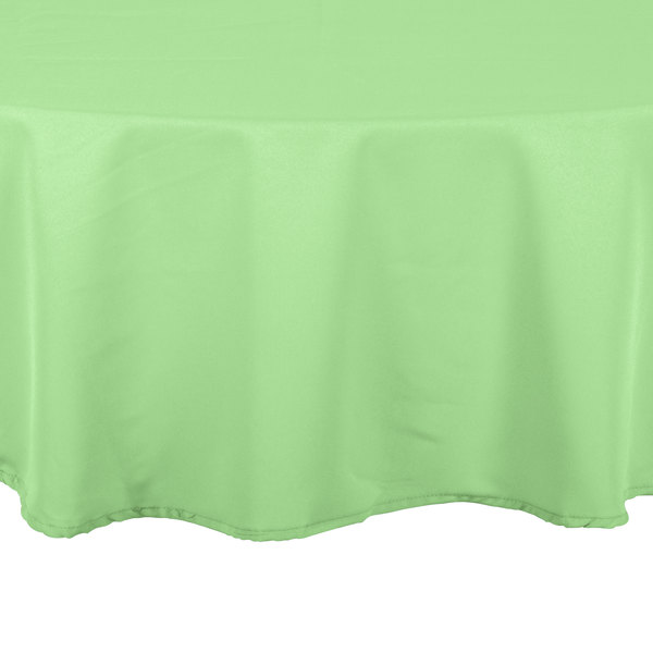 "132"" Round Seafoam Green 100% Polyester Hemmed Cloth Table Cover"