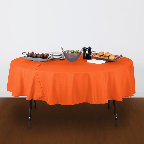"""90"""" Round Orange 100% Polyester Hemmed Cloth Table Cover"""