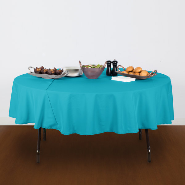 """90"""" Round Teal 100% Polyester Hemmed Cloth Table Cover"""