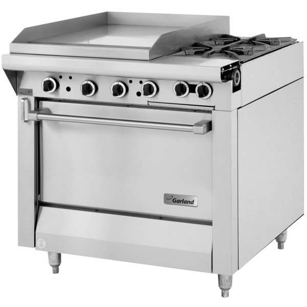 """Garland M48-23S Master Series Natural Gas 2 Burner 34"""" Range with 23"""" Griddle and Storage Base - 114,000 BTU (Thermostatic Controls)"""