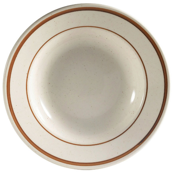 12 oz. Brown Speckle Narrow Rim China Soup Bowl - 24/Case