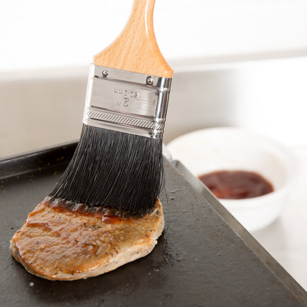 """Ateco 60520 2"""" Black Boar Bristle Pastry Brush"""
