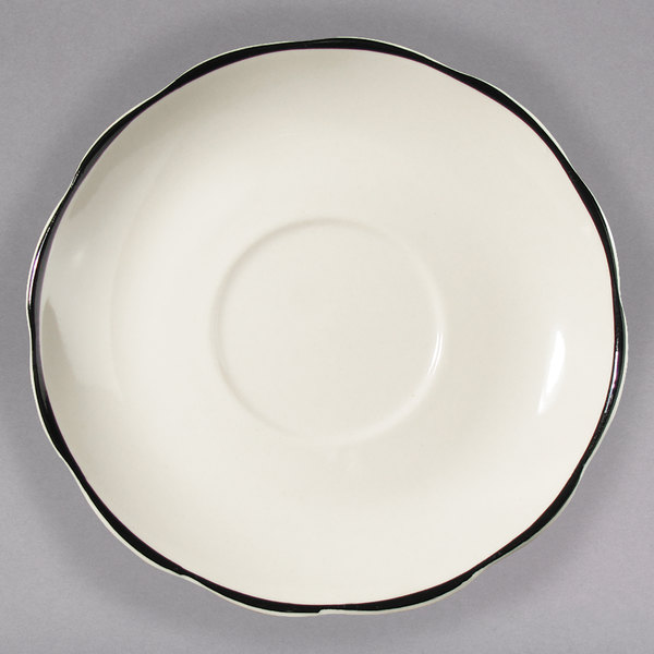 "4 1/2"" Ivory Scalloped Edge China Saucer with Black Band - 36/Case"